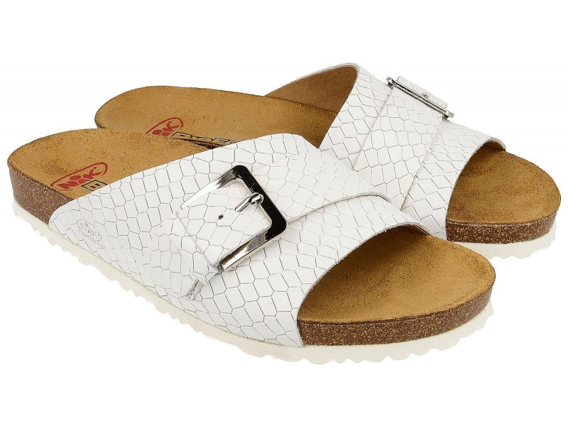 lowest price 56bf8 bfd40 Elegant women's sandals with buckle, WHITE, genuine leather