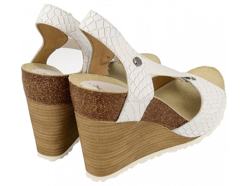 Sandały damskie na koturnie, BIAŁE, naturalna skóra, wyściółka anatomiczna