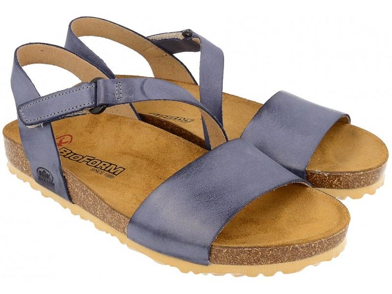 Sandały damskie, GRANATOWE, naturalna skóra licowa, wkład