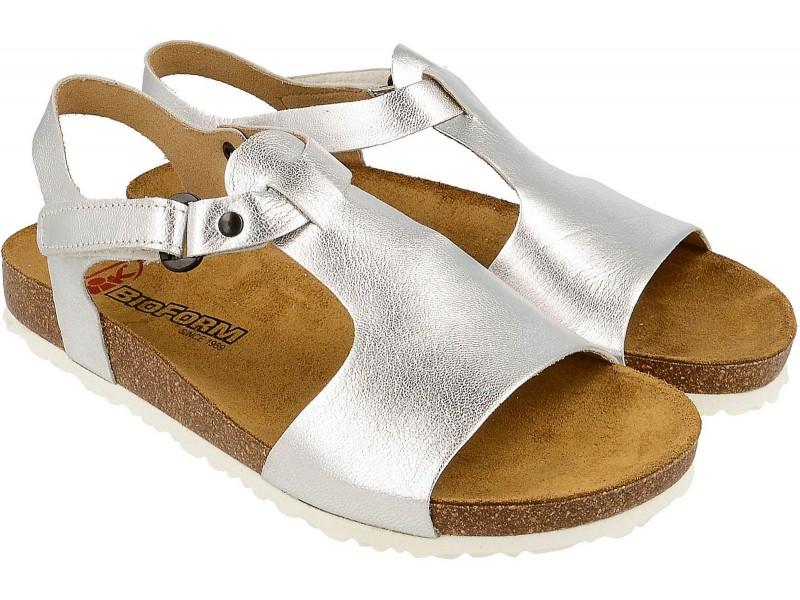 Sandały damskie, SREBRNE, naturalna skóra licowa, wkład