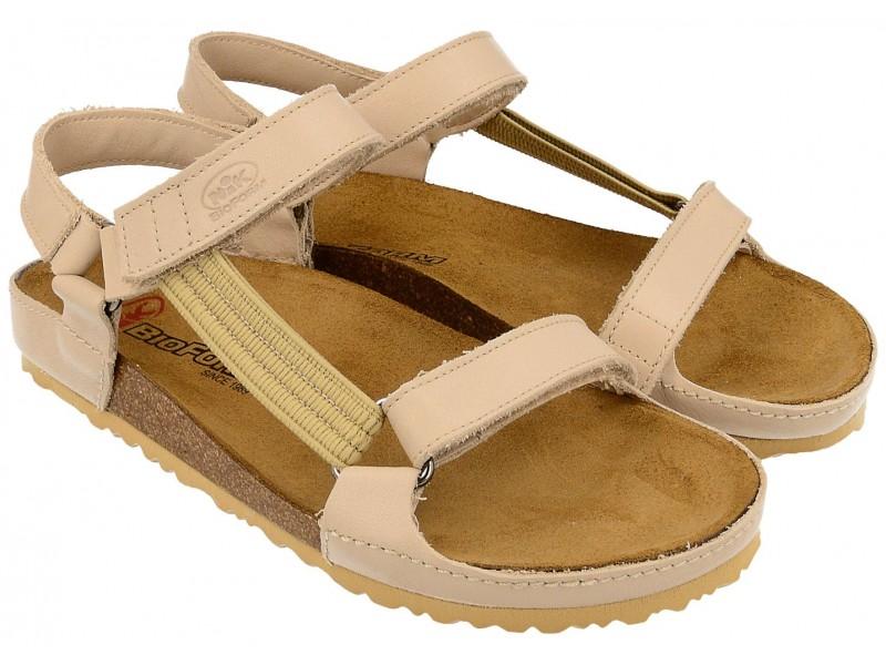 Sandały damskie, BEŻOWE, skóra naturalna licowa, wkład