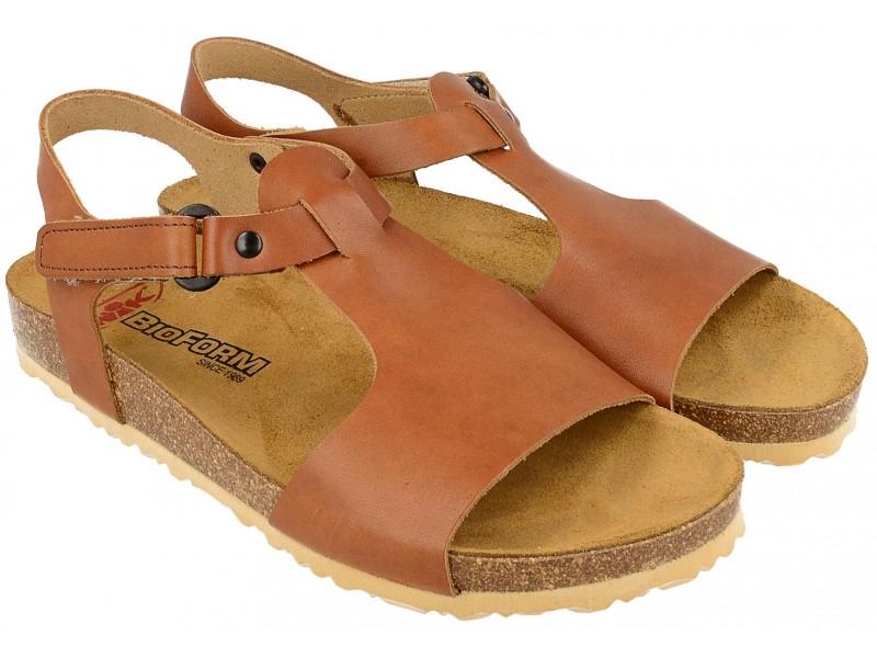 Sandały damskie, BRĄZOWE, naturalna skóra licowa, wkład