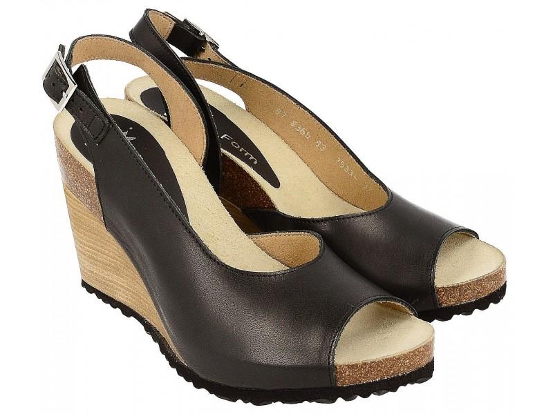 Sandały na koturnie - CZARNE - skóra naturalna, wyściółka