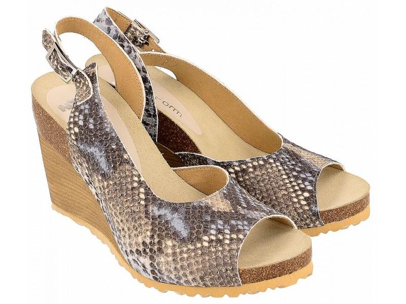 Sandały na koturnie - KOLOROWE - skóra naturalna wężowa