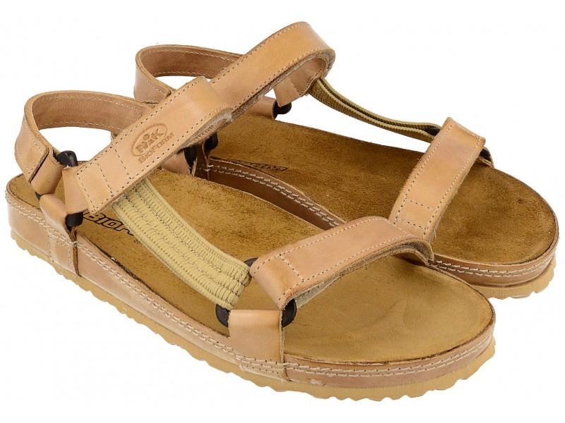 Sandały damskie, BEŻOWE, naturalna skóra licowa, wkład