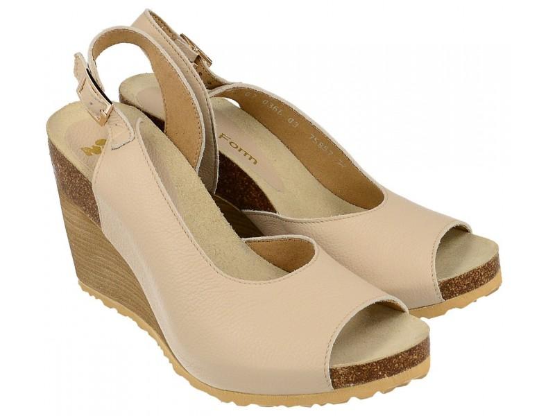 Sandały na koturnie - BEŻOWE - skóra naturalna, wyściółka