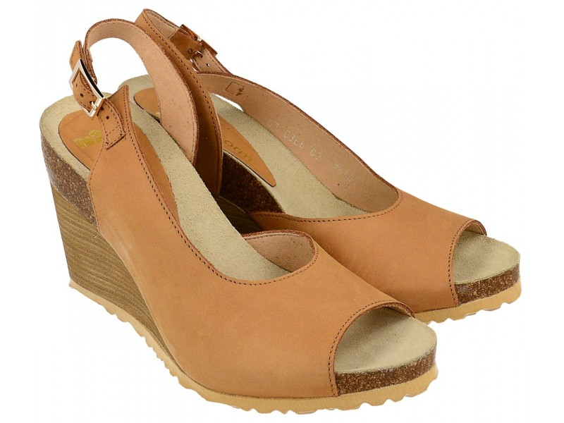 Sandały na koturnie - JASNY BRĄZ - skóra naturalna, wyściółka