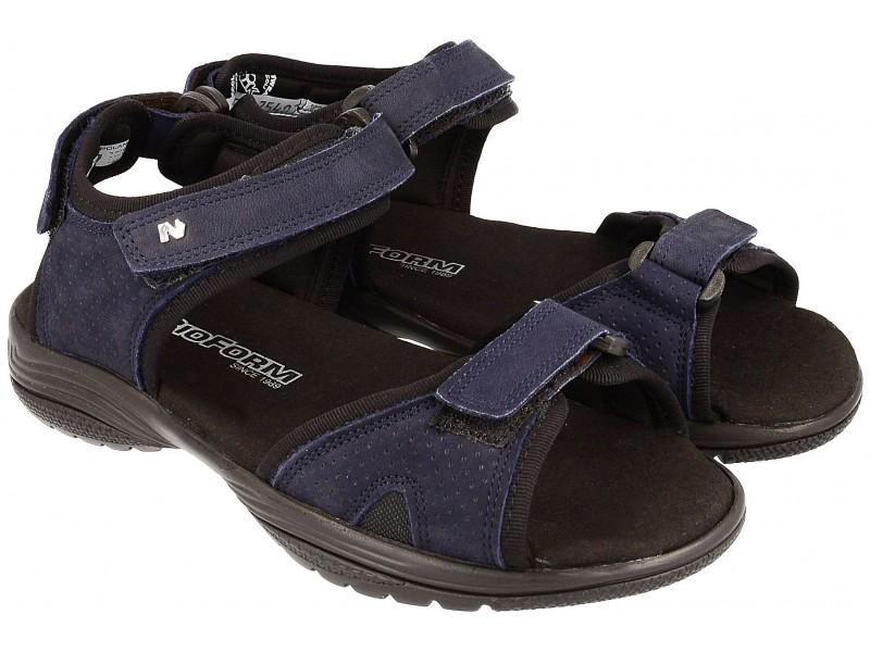 Lekkie sandały młodzieżowe, GRANATOWE, naturalna skóra, miękka