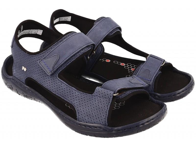 Sportowe sandały męskie, NIEBIESKIE, skóra naturalna, lekka