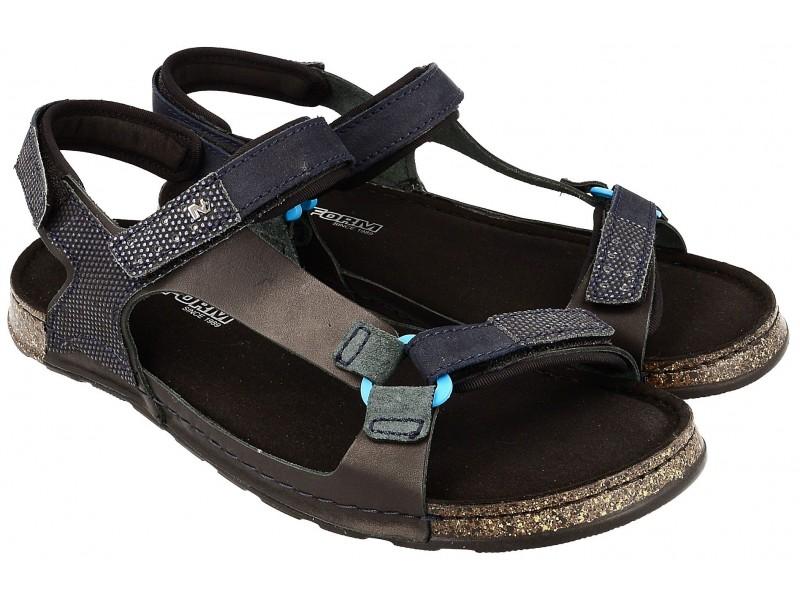 Komfortowe sandały męskie, GRANATOWE, naturalna skóra, miękka