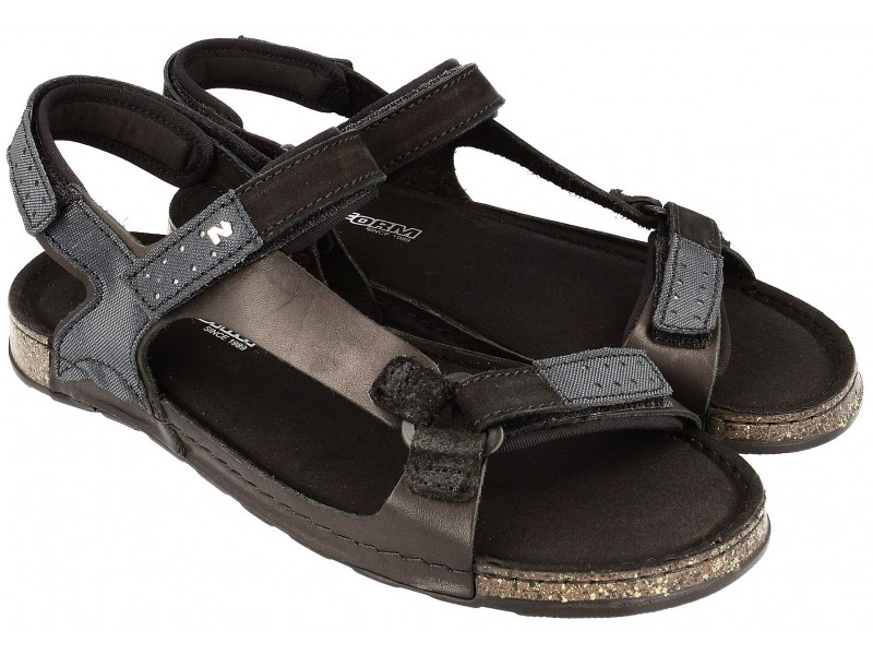 Komfortowe sandały męskie, CZARNE, naturalna skóra nubukowa