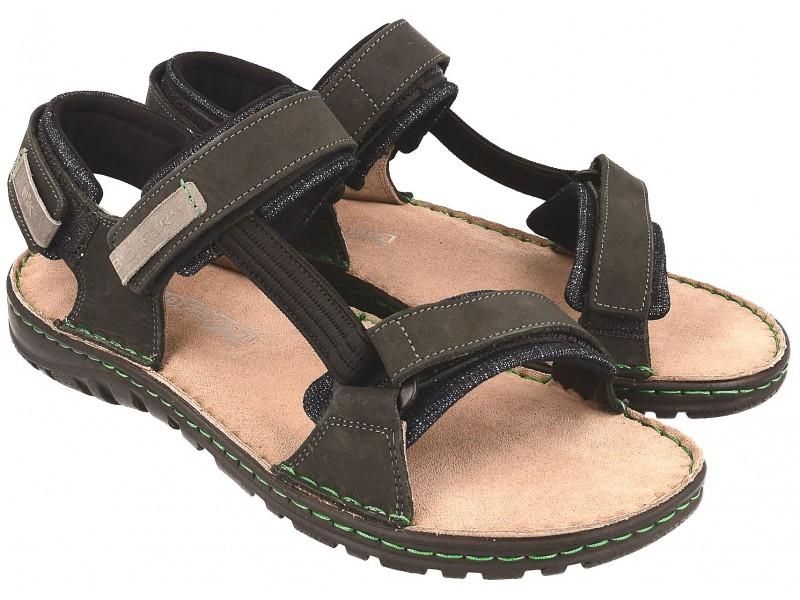 Komfortowe sandały męskie, CZARNE, skóra naturalna, miękka