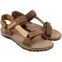 Komfortowe sandały męskie, BRĄZOWE, skóra naturalna, miękka