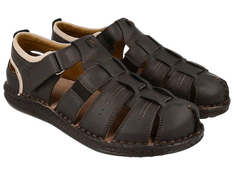 Komfortowe sandały męskie, CZARNE, naturalna skóra licowa, zakryte palce