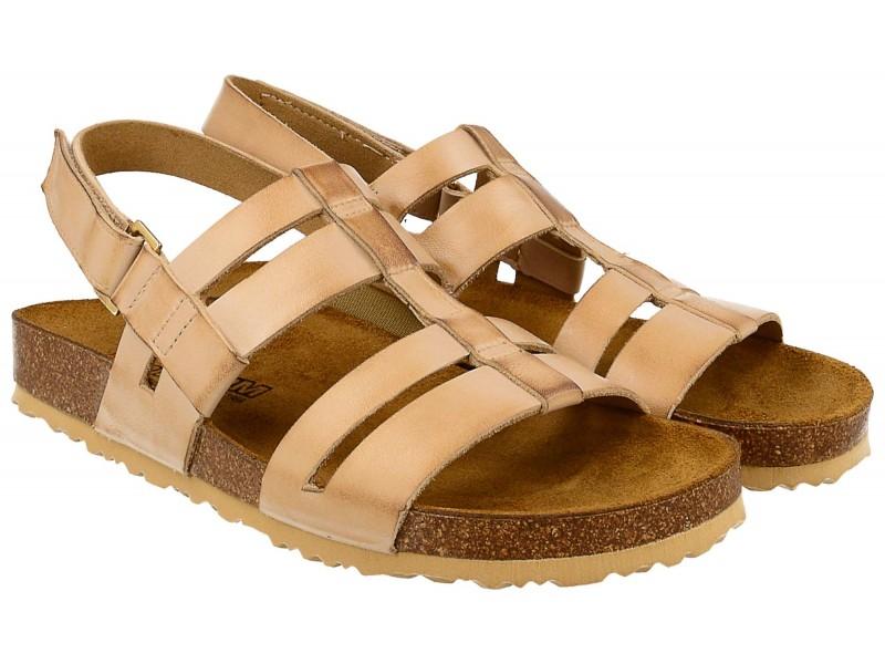 Sandały damskie, BEŻOWE przecierane, naturalna skóra licowa, wkład anatomiczny