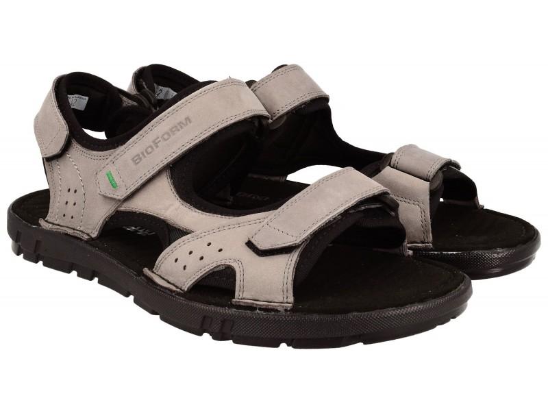 sandały męskie | Komfortowe sandały męskie, SZARE, naturalna