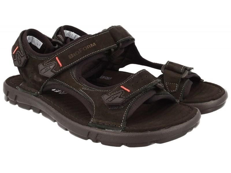 sandały męskie | Komfortowe sandały męskie, CZARNE, naturalna