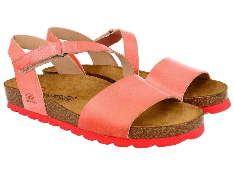 Sandały damskie, CZERWONE, naturalna skóra licowa, wkład