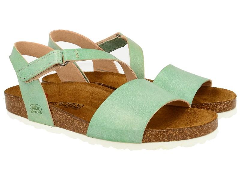 Sandały damskie, ZIELONE, naturalna skóra licowa, wkład