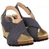 Sandały damskie na koturnie, GRANATOWE w grochy, naturalna