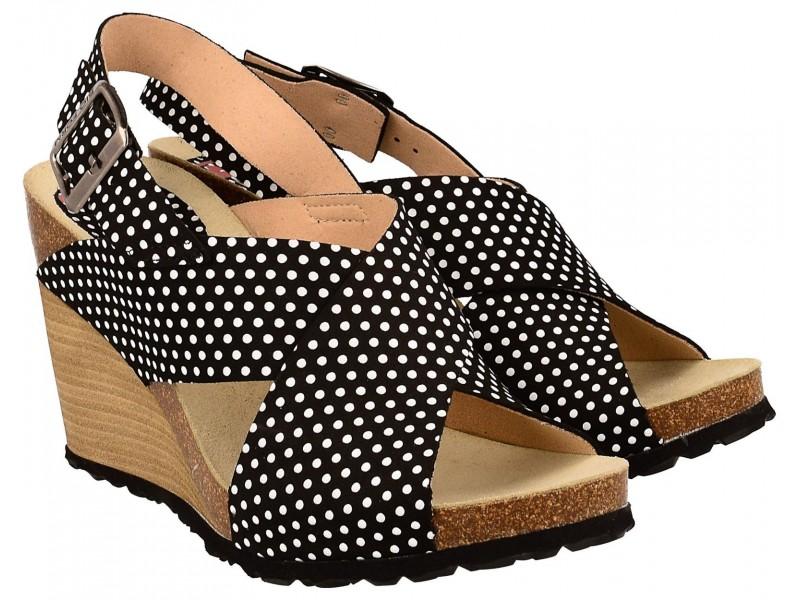 Sandały damskie na koturnie, CZARNE w grochy, naturalna skóra