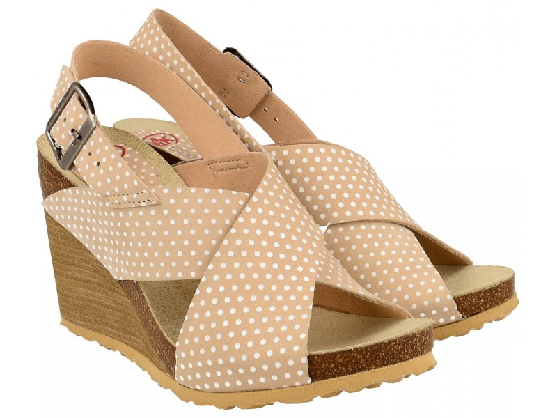 Sandały damskie na koturnie, BEŻOWE w grochy, naturalna skóra