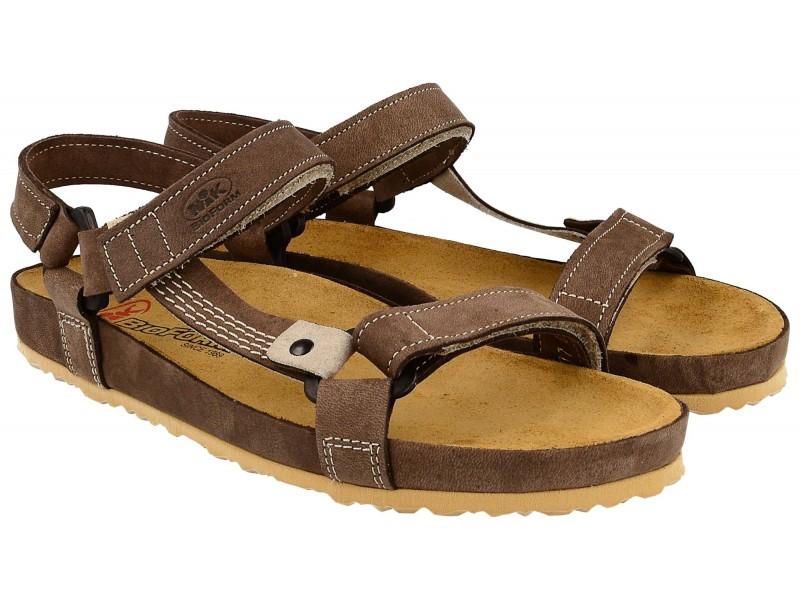 Sandały damskie, BRĄZOWE, naturalna skóra nubukowa, wkład