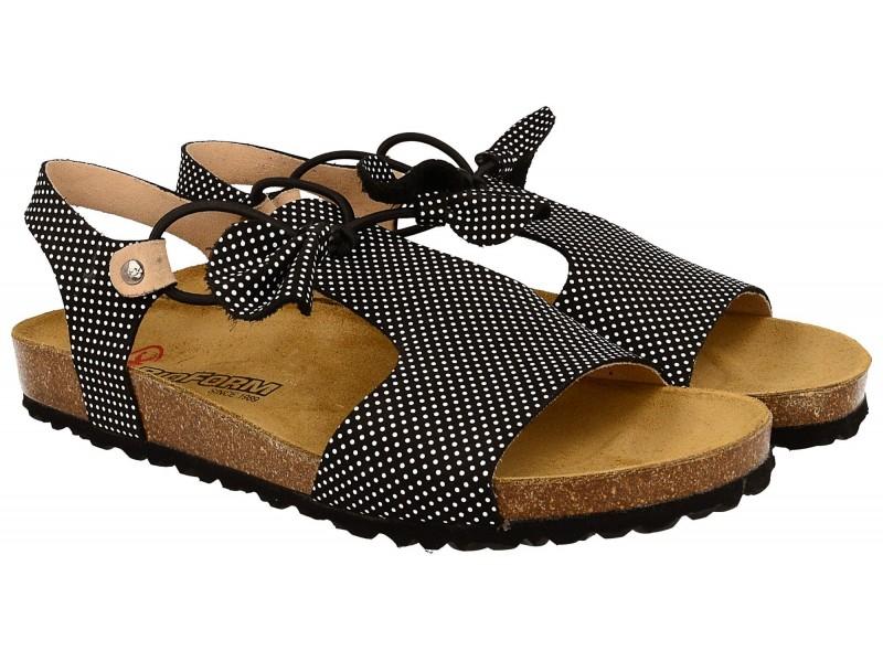 Sandały damskie, CZARNE w groszki, naturalna skóra nubukowa