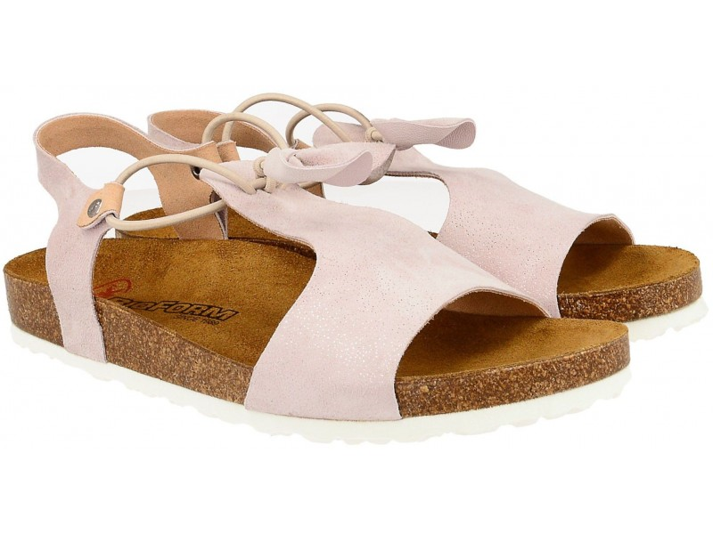 Sandały damskie, RÓŻOWE, naturalna skóra licowa, wkład