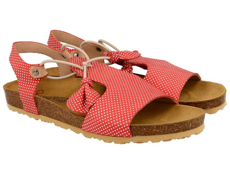 Sandały damskie, CZERWONE w groszki, naturalna skóra, wkład