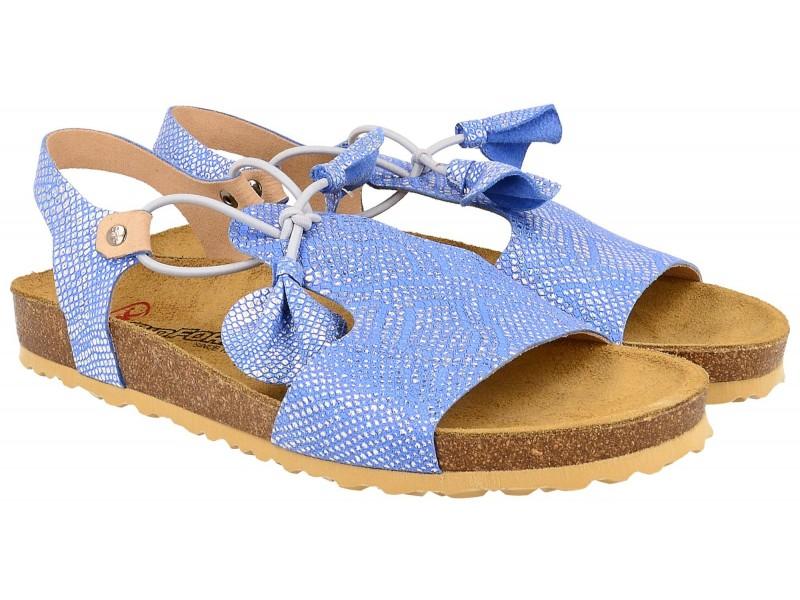 Sandały damskie, BŁĘKITNE, naturalna skóra licowa, wkład