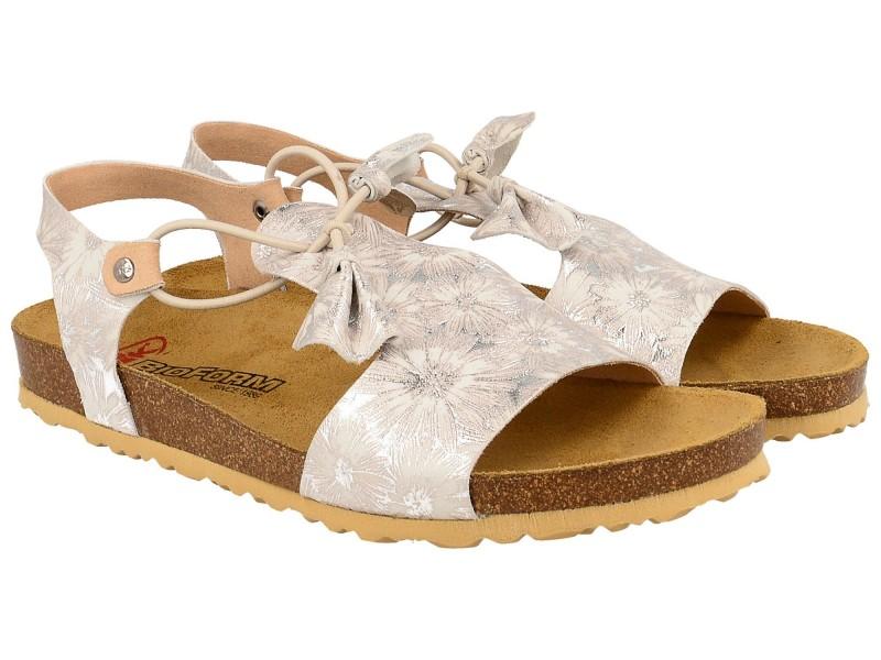 Sandały damskie, RÓŻOWO SREBRNE, naturalna skóra licowa, wkład