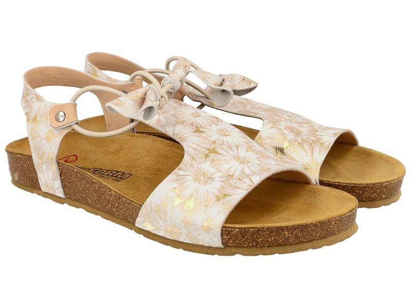 Sandały damskie, RÓŻOWO ZŁOTE, naturalna skóra licowa, wkład