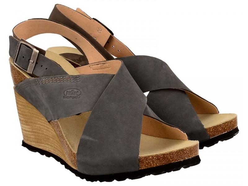 Sandały damskie na koturnie, SZARE, naturalna skóra nubukowa