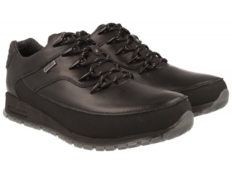 Men's trekking NIK shoess, BLACK leather, breathable membrane Sympatex