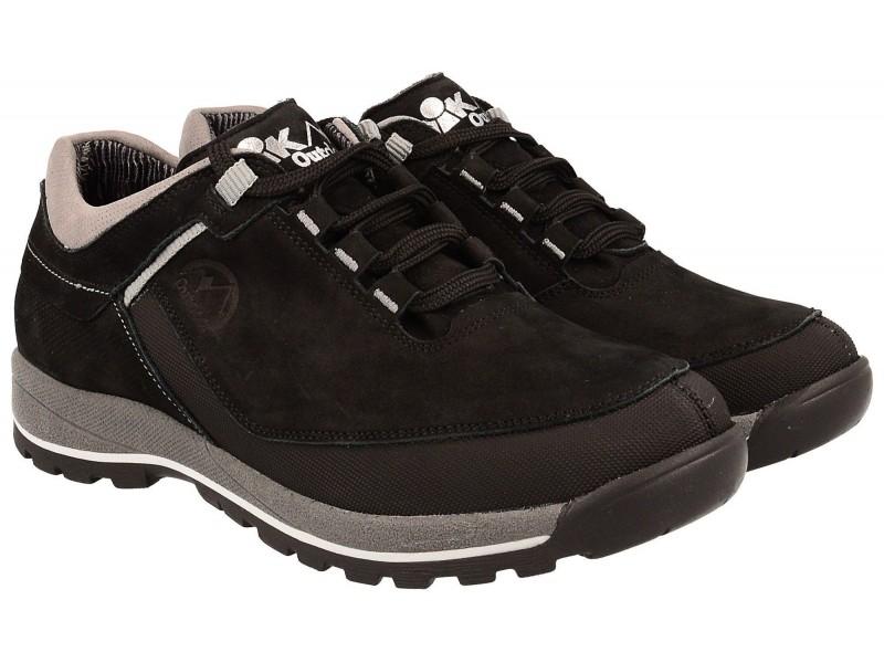 Buty trekkingowe młodzieżowe, niskie, CZARNA skóra nubukowa, membrana oddychająca