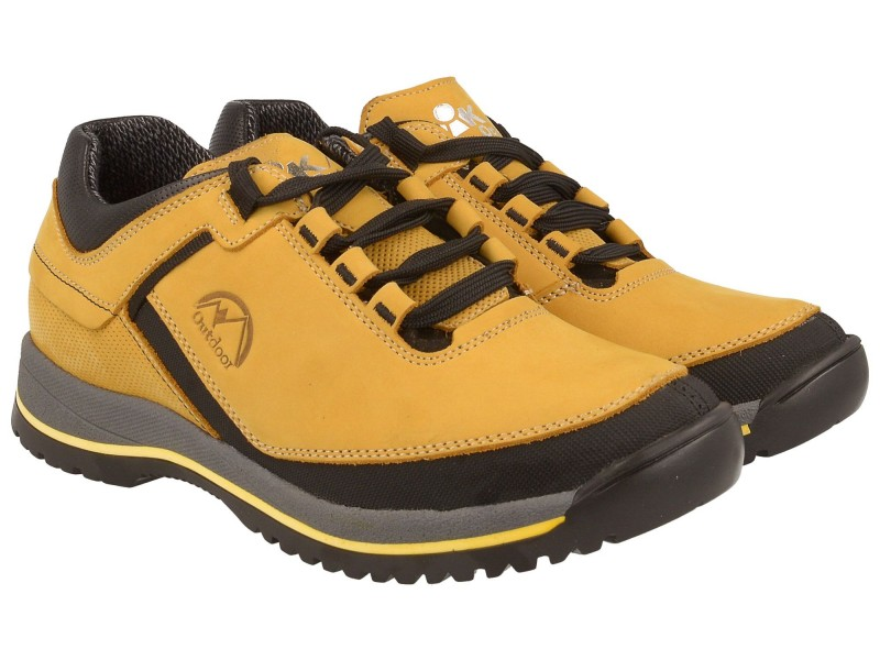 Buty trekkingowe młodzieżowe, niskie, ŻÓŁTA skóra nubukowa, membrana oddychająca