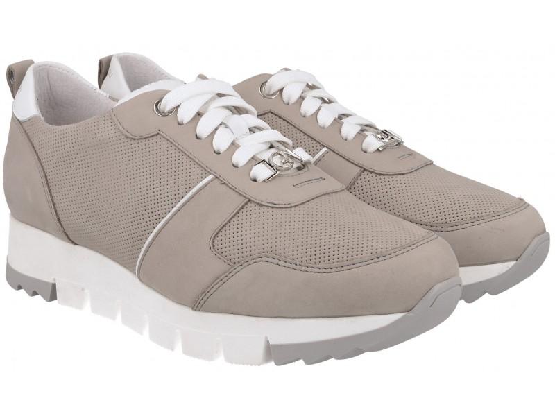 Sneakersy / Sportowe Sneakersy damskie, SZARE, naturalna skóra