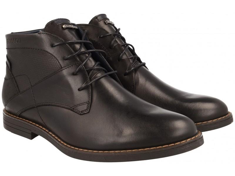 Klasyczne męskie buty zimowe NIK Giatoma Niccoli - Czarne - skóra naturalna