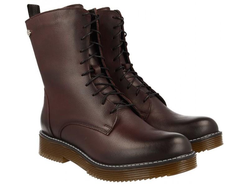 Trzewiki / Botki Klasyczne damskie buty zimowe, GLANY, bordowe