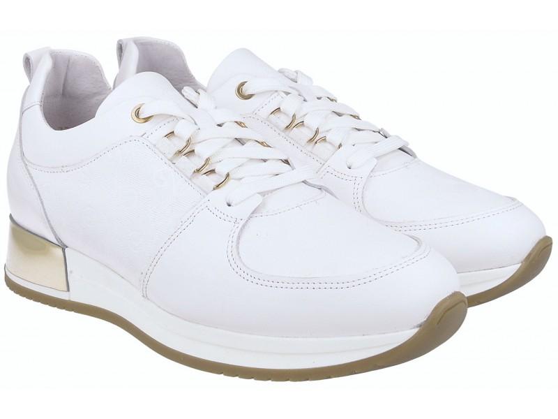 Sneakersy / Sportowe Sneakersy damskie białe wykonane ze skóry