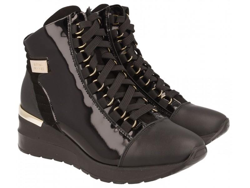 Sneakersy damskie ocieplane wysokie,CZARNE, naturalna skóra