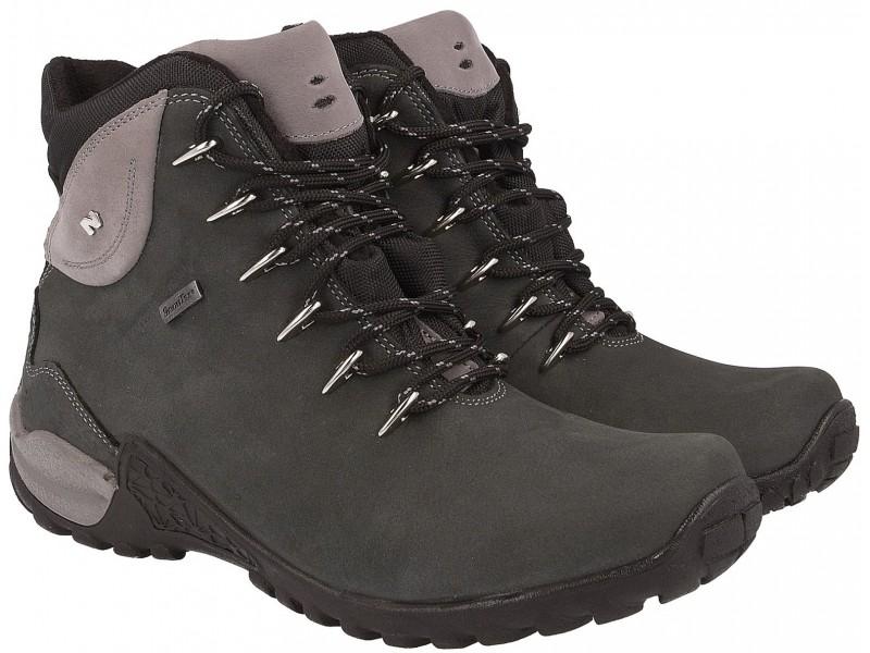Buty trekkingowe wysokie wykonane ze skóry nubukowej w kolorze ciemno szarym