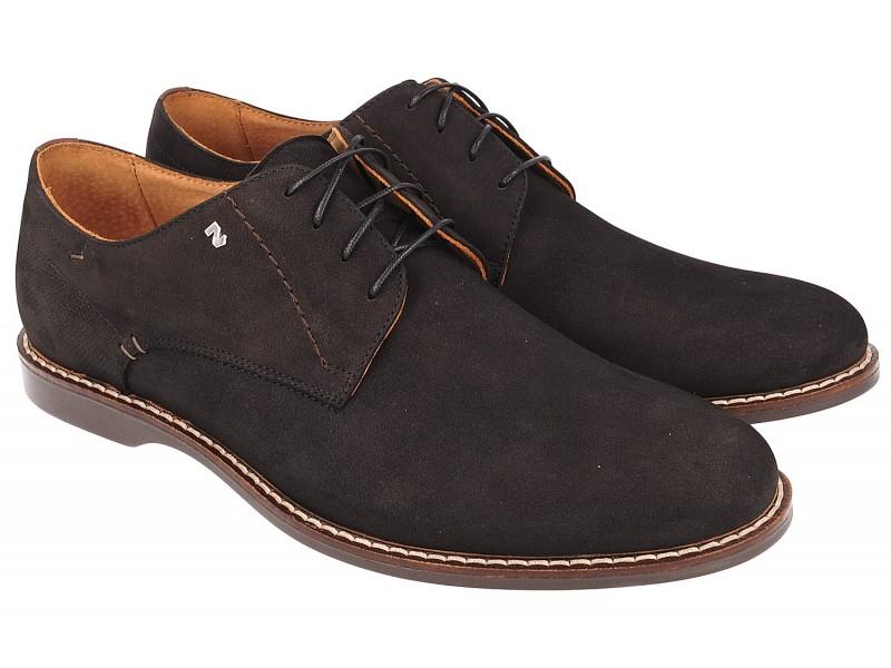 Smart shoes męskie, CZARNE, naturalna skóra nubukowa