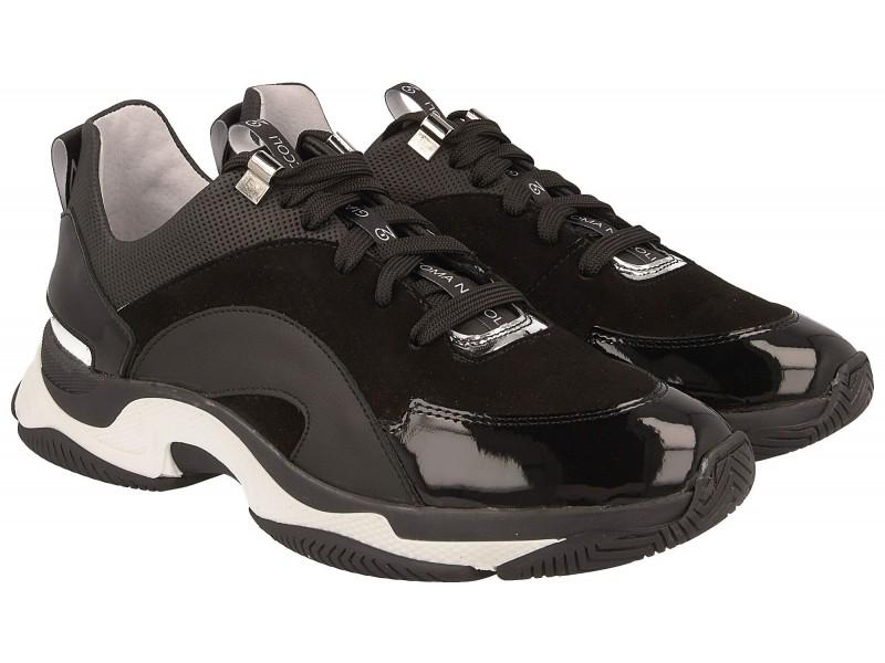 Sneakersy damskie, CZARNE, naturalna skóra