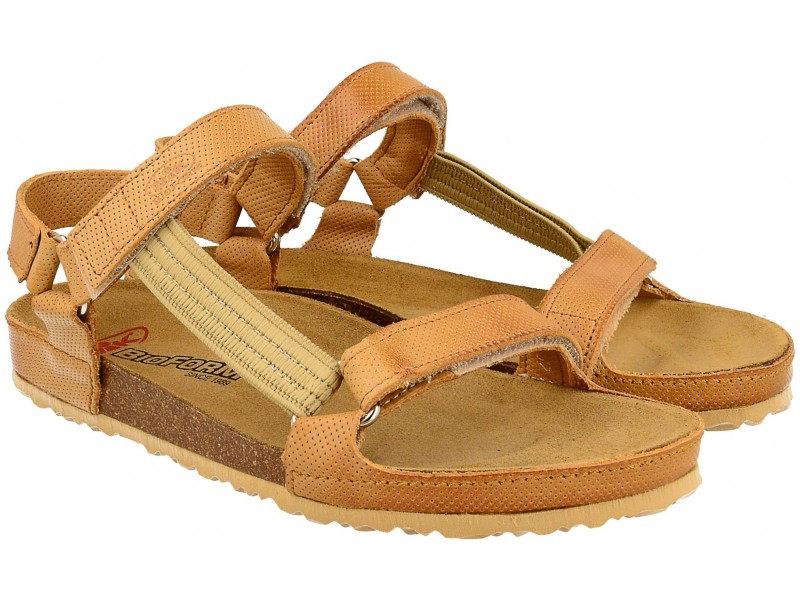 Sandały damskie, BRĄZOWE JASNE, naturalna skóra licowa, wkład