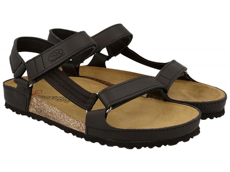 Sandały damskie, CZARNE, naturalna skóra licowa, wkład