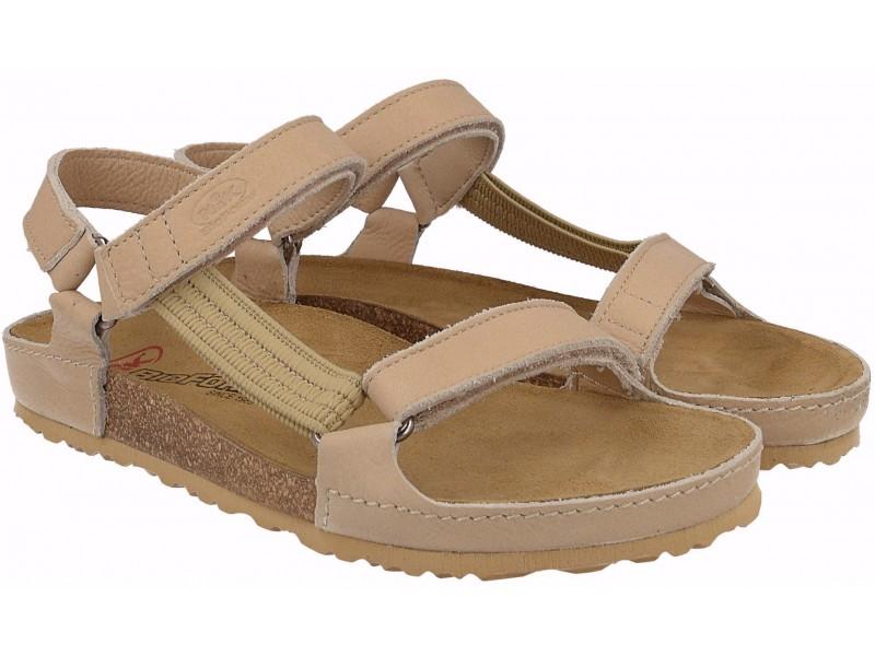 Profiled women's sandals, BEIGE, genuine leather