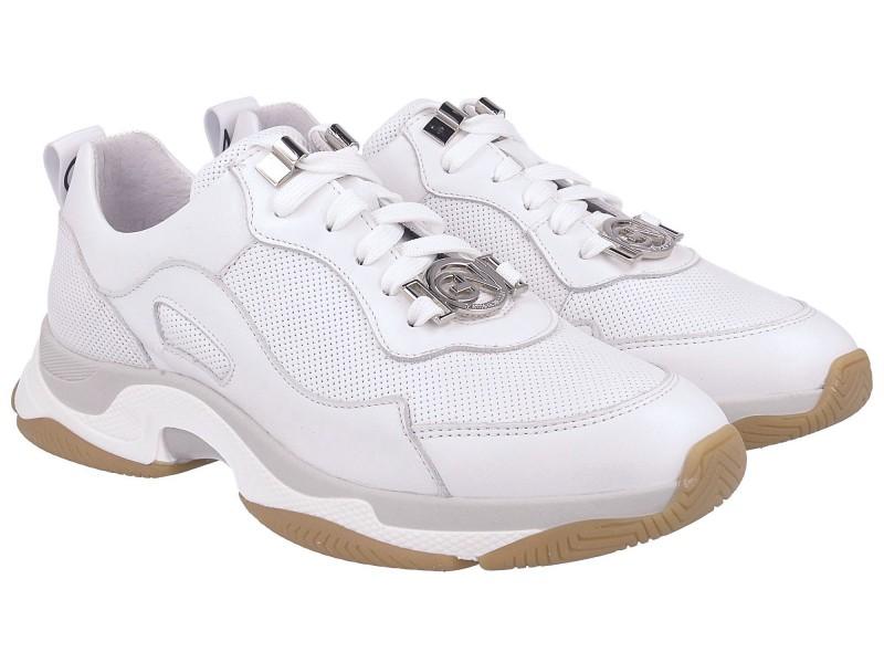 Damskie sneakersy BIAŁE ze złotymi wstawkami, skóra naturalna