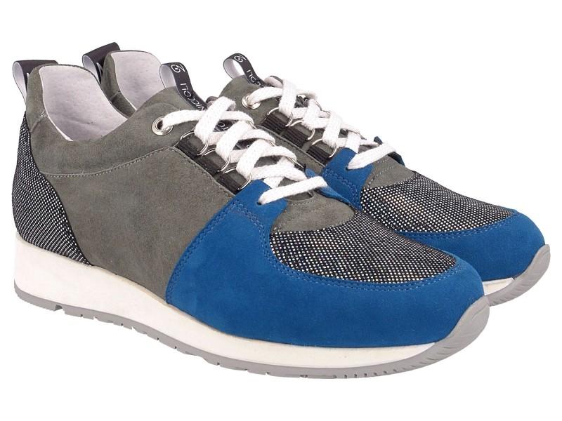 Sneakersy damskie, SZARE, skóra naturalna, kolorowe